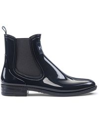 HUGO Rain Booties In Glossy Rubber - Blue