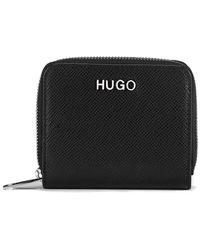 HUGO - Zip-around Wallet In Saffiano Leather - Lyst