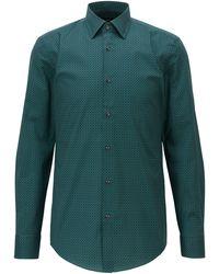 BOSS by HUGO BOSS Slim-fit Overhemd Van Italiaanse Stretchkatoen Met Print - Groen