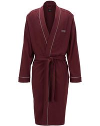BOSS Cotton Dressing Gown With Contrast Piping - Red