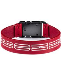 HUGO Italian-leather Cuff With New-season Logo Print - Red