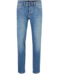 BOSS Tapered-fit Jeans In Bleached Comfort-stretch Denim - Blue