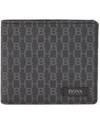 BOSS - Six-card Billfold Wallet In Monogram-printed Italian Fabric - Lyst