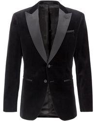 BOSS Slim-fit Jacket With Silk Peak Lapels - Black