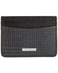 BOSS - Signature Collection Card Holder In Check-print Calf Leather - Lyst