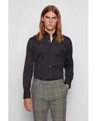 BOSS by HUGO BOSS 'jason'   Slim Fit, Spread Collar Stretch Cotton Blend Dress Shirt - Black