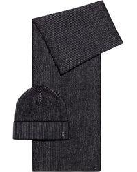 HUGO Gebreide Set Van Sjaal En Muts Met Metallic Garen - Zwart
