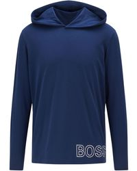 BOSS by HUGO BOSS Pyjama-t-shirt Van Stretchkatoen Met Contourlogo - Blauw