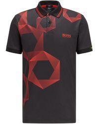 BOSS by HUGO BOSS Regular-fit Polo Met Zeshoekige Print En Logo - Zwart