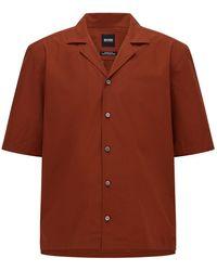 BOSS by HUGO BOSS Regular-fit Overhemd Van Italiaanse Katoenpopeline - Bruin