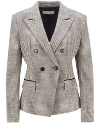 BOSS by HUGO BOSS Double-breasted Slim-fit Jacket In Stretch Tweed - Grey
