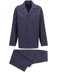 BOSS by HUGO BOSS Geruite Pyjamaset Van Katoenpopeline Met Logo - Blauw