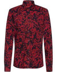 HUGO Extra Slim-fit Overhemd Van Katoenen Canvas Met Kersenbloesemprint - Rood