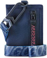 HUGO Unisex Nylon Card Holder With '93 Branded Webbing Strap - Blue