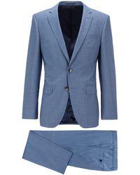 BOSS by HUGO BOSS Micro-patterned Slim-fit Suit In Tropical Virgin Wool - Blue