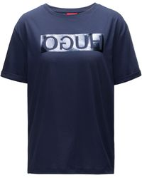 HUGO - Short-sleeved Cotton T-shirt With Metallic Reversed Logo - Lyst