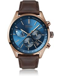BOSS by Hugo Boss Chronograph Grand Prix Brown Leather Strap Watch 44mm