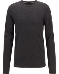 BOSS by Hugo Boss Slim Fit T Shirt With Long Sleeves In Waffle Cotton - Black
