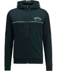 BOSS by HUGO BOSS Sudadera regular fit con logo curvado y capucha ajustable - Verde