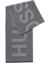 BOSS by HUGO BOSS Italian-wool-blend Scarf With Statement Logo - Grey