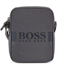 BOSS by HUGO BOSS Reportertas Van Gestructureerd Technisch Materiaal Met Logoprint - Grijs