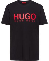 HUGO Camiseta con logo de punto sencillo de algodón - Negro