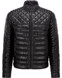 BOSS by HUGO BOSS Slim-fit Quilted Biker Jacket In Waxed Leather - Black