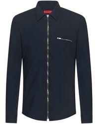HUGO Extra-slim-fit Zip-through Shirt In Stretch Cotton - Blue