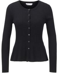 BOSS Slim-fit Cardigan In A Ribbed Merino-wool Blend - Black