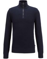 BOSS by HUGO BOSS Jersey con cremallera en algodón y lana virgen - Azul