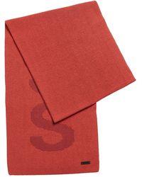 BOSS by HUGO BOSS Sjaal Van Een Katoenmix Met Logostructuur - Rood
