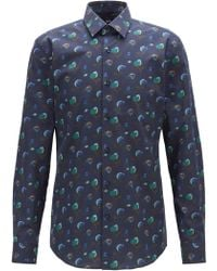 BOSS Slim-fit Shirt In Floral-print Italian Cotton Poplin - Blue