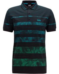 BOSS Regular-fit Polo Shirt With Patterned Stripe - Black