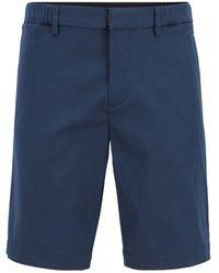 BOSS by HUGO BOSS Bermuda slim fit in dobby di misto cotone elasticizzato - Blu