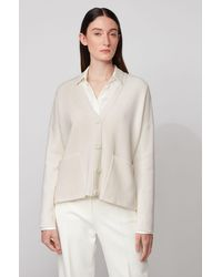 BOSS by Hugo Boss Cardigan Oversized Fit en coton et soie - Blanc