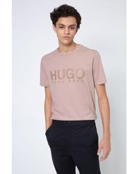 HUGO T-shirt à col rond en jersey de coton avec logo imprimé - Rose