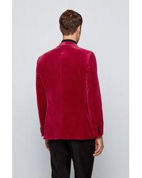 BOSS by HUGO BOSS Veste de smoking Slim Fit en velours, avec finitions en soie - Rouge