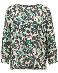 BOSS Wide-neck Top With Floral Camouflage Print - Green