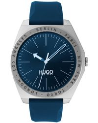 HUGO Silicone-strap Watch With Engraved Bezel - Blue