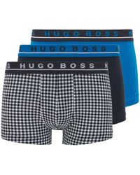 BOSS by Hugo Boss Three-pack Of Logo Trunks In Stretch Cotton - Blue