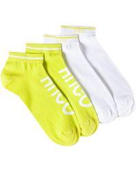 HUGO Paquete de dos pares de calcetines tobilleros en mezcla de algodón - Amarillo