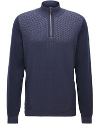 BOSS - Cotton Blend Half-zip Sweater | Zokia - Lyst