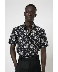 HUGO Cotton-canvas Slim-fit Shirt With All-over Print - Black
