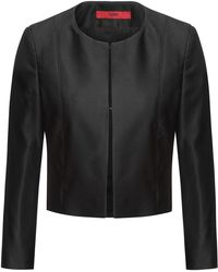 HUGO - Sleek Regular-fit Cropped Jacket With Hook-and-eye Closure - Lyst