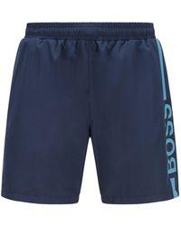 BOSS by HUGO BOSS Logo-print Swim Shorts In Recycled Fabric - Blue