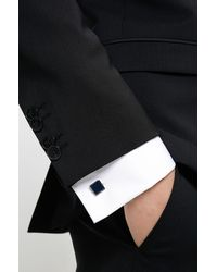 HUGO Vierkante Manchetknopen Met Detail Van Email - Wit