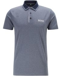 BOSS Slim-fit Golf Polo Shirt With Color-block Collar - Blue