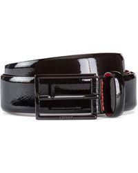 HUGO Italian-made Belt In Patent Leather - Black
