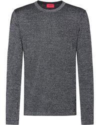 HUGO Jersey de punto en mezcla de lana con hilos metalizados - Metálico