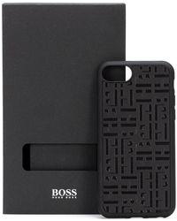BOSS by HUGO BOSS IPhone-Hülle aus italienischem Leder mit Monogramm-Prägung - Schwarz